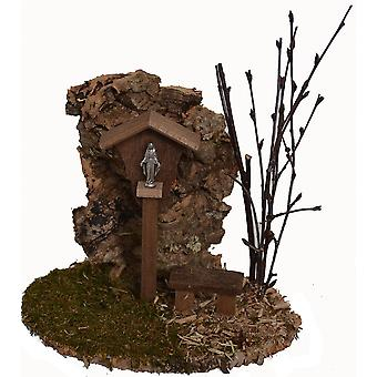 Madonna way Madonna wayside cross with Bank and Shepherd for Nativity crib accessories