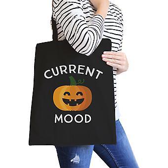 Pumpkin Current Mood Halloween Diaper Bag Cute Canvas Tote Black