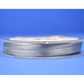 7mm Polyester Satin Craft Ribbon - 10m Reel - Silver Grey