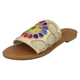 Ladies Savannah Flat Stitched Vamp Mules F00080