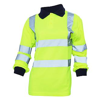 Yoko Ladies/Womens Hi-Vis Long Sleeve Polo Shirt