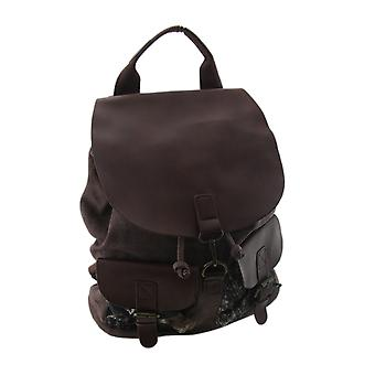Brown Camouflage Accented Drawstring Canvas Backpack