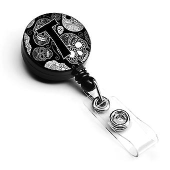 Letter T Day of the Dead Skulls Black Retractable Badge Reel