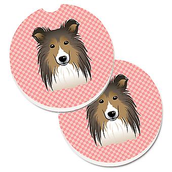 Checkerboard Pink Sheltie Set of 2 Cup Holder Car Coasters