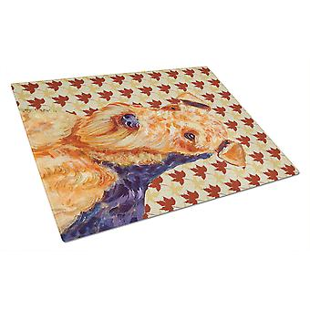 Carolines Treasures  LH9111LCB Airedale Fall Leaves Portrait Glass Cutting Board