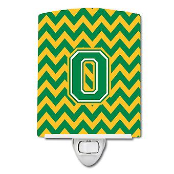 Letter O Chevron Green and Gold Ceramic Night Light