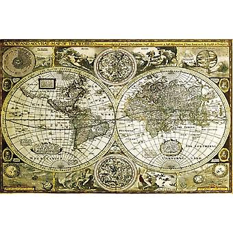 World Map Gold Historical Poster Poster Print