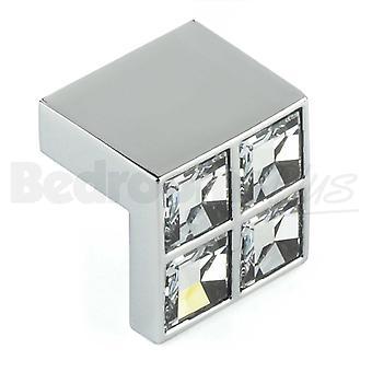 Swarovski Bar bouton armoires de cuisine porte gère armoires tiroirs chambre meubles tirer poignée en chrome poli avec section bar Swarovski Crystal.
