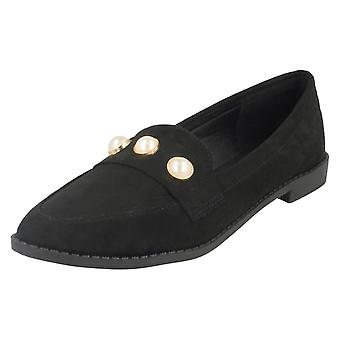 Ladies Spot On Pointed Toe Loafers F80334