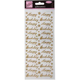 Anita's Glitterations Happy Birthday Gold A8181046