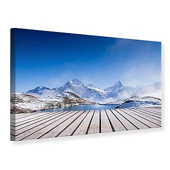 Canvas Print zonneterras op de Swiss Mountain Lake