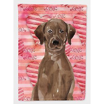 Carolines tesouros BB9470GF Chocolate Labrador amor bandeira jardim tamanho