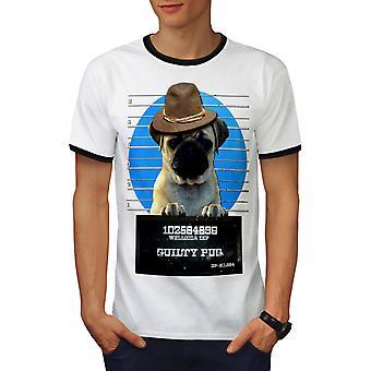 Pug Animal Criminal Dog Men White / BlackRinger T-shirt | Wellcoda