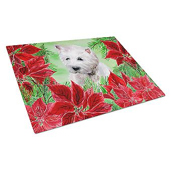 Carolines Treasures  CK1349LCB Westie Poinsettas Glass Cutting Board Large