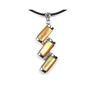 Necklace pendant woman rectangles yellow Pearl