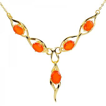 Ladies Shipton And Co Exclusive 9ct Yellow Gold And Fire Opal Necklace NYG078FO