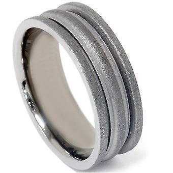 Carbone di legna finitura Wedding Band 14k oro nero
