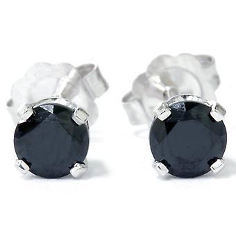 1/2ct Black Spinel Studs Earrings 14K White Gold