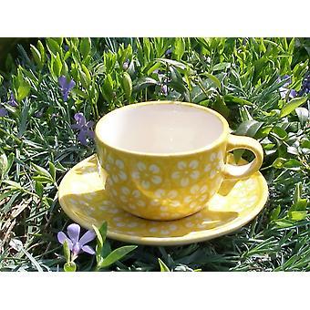 Cup with saucer, Bolesławiec yellow, BSN m-4241