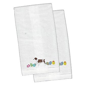 Welsh Springer Spaniel Easter White Embroidered Plush Hand Towel Set of 2