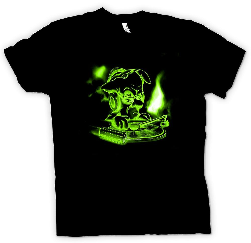 Mens T-shirt - DJ Mixing - Green Glow