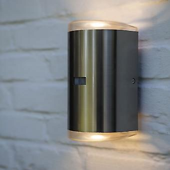LuTec camino PIR 16w Exterior LED arriba y abajo de la lámpara de pared en acero inoxidable