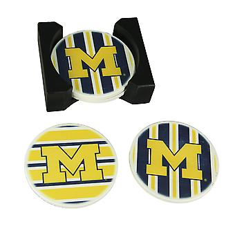 University of Michigan Wolverines 4 Piece Absorbent Coaster Set With Caddy