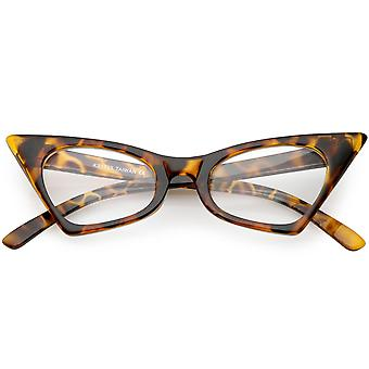 Retro Small High Point Cat Eye Glasses Oval Clear Lens 46mm