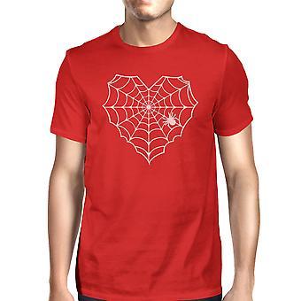 Coração Spider Web camiseta Halloween Mens vermelho redonda camiseta de pescoço