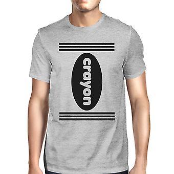 Crayon Mens Grey Graphic T-Shirt Round Neck Halloween Tee Shirt