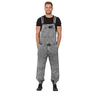 Mens Dungarees - Black Wash Bib Overalls Elasticated at Ankle