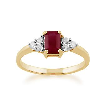 9ct Yellow Gold 0.66ct Natural Ruby & Diamond Single Stone Ring