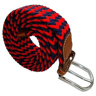 Bassin and Brown Striped Elasticated Woven Belt - Navy/Red