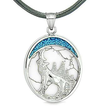 Howling Wolf Wild Woods Moon Protection Powers Amulet Simulated White Turquoise Pendant Necklace