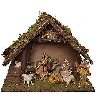 Nativity wood with figures of 9 PCs MELCHOR crib 41 x 21 x 30 cm hand work