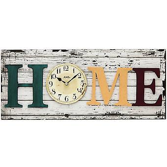 Quartz wall clock wall clock home quartz mineral glass with attached wooden elements