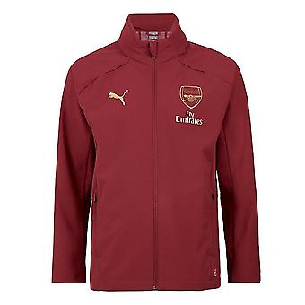 2018-2019 Arsenal Puma Hooded Rain Top (Pomegranate)