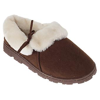 SlumberzzZ Womens/Ladies Fleece Lined Slippers With Rubber Sole