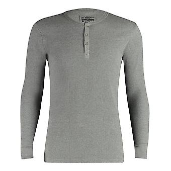 Levi's 300ls Ribbed Cotton Long Sleeve Henley T Shirt - Middle Grey Melange