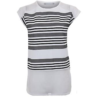 Ladies Cap Sleeve Mesh Insert Stripe Curved Hem Side Slit Loose Fit T-Shirt Top