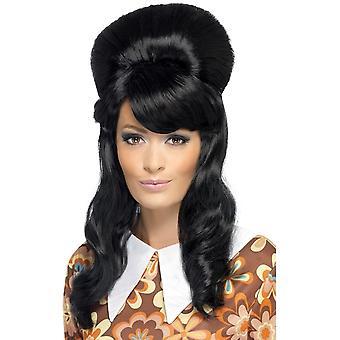 Høy svart bikube parykk, 60's Brigitte Bouffant Wig, Black Adult Fancy kjole