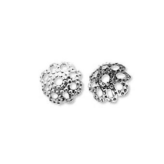 حزمة 300 + نغمة الفضة الحديد مطلي زهرة حبة قبعات 10 مم HA02560