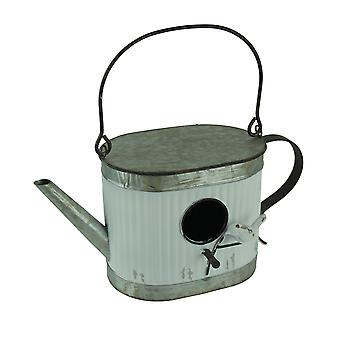 Oval Metal Wall Mounted Rustic Teapot Birdhouse