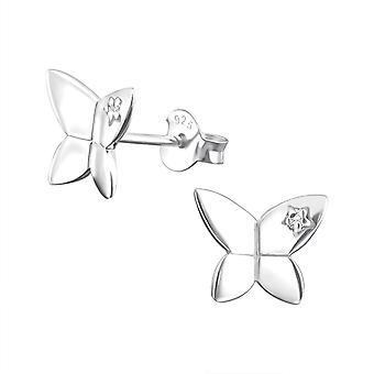 Butterfly - 925 Sterling Silver Cubic Zirconia Ear Studs - W8365X