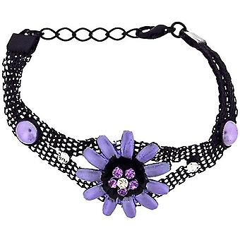 The Olivia Collection Girls-Ladies Black Mesh Bracelet with Purple Flower FJ213
