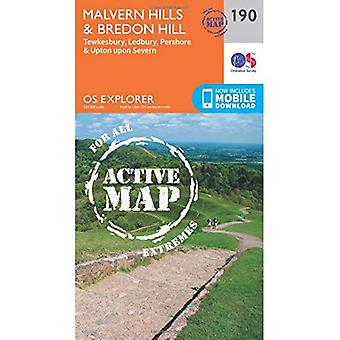 OS Explorer mapa ativo (190) Malvern Hills e Bredon Hill (OS Explorer mapa ativo)