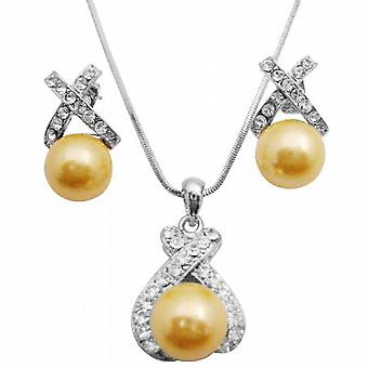 Oyster Shell Pearl Pendant Yellow Pearl Pendant & Earrings Set