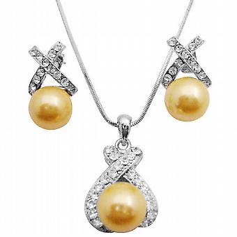 Oyster Shell Perlen Anhänger gelb Perle Anhänger & Ohrringe Set