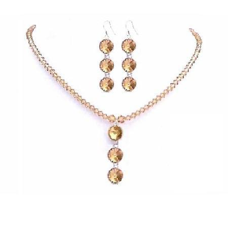 Sleek Dainty Colorado Swarovski Crystals Bridal Jewelry Round Bead Set