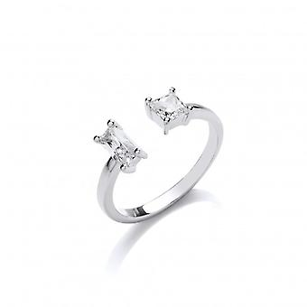 Cavendish French Silver and Baguette CZ Open Ring